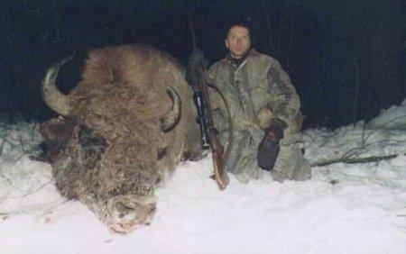 Російський бізнесмен Андрєєв біля відстріляного ним зубра