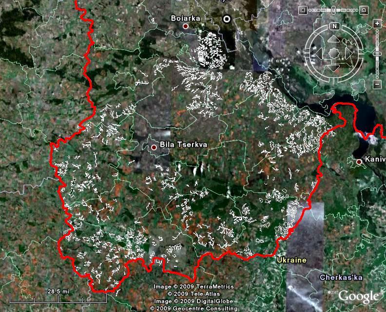 Балочні комплекси на космічному знімку півдня Київської області