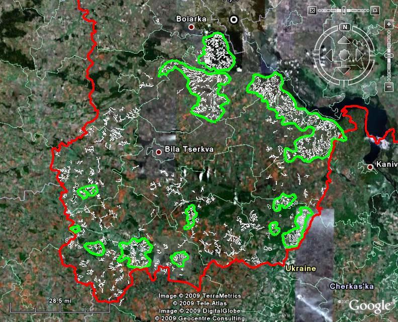 Ключові території (попередньо) «степової» складової екологічної мережі півдня Київської області
